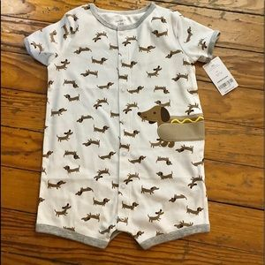 Carter's 24 month weenie dog shorts onesie NWT